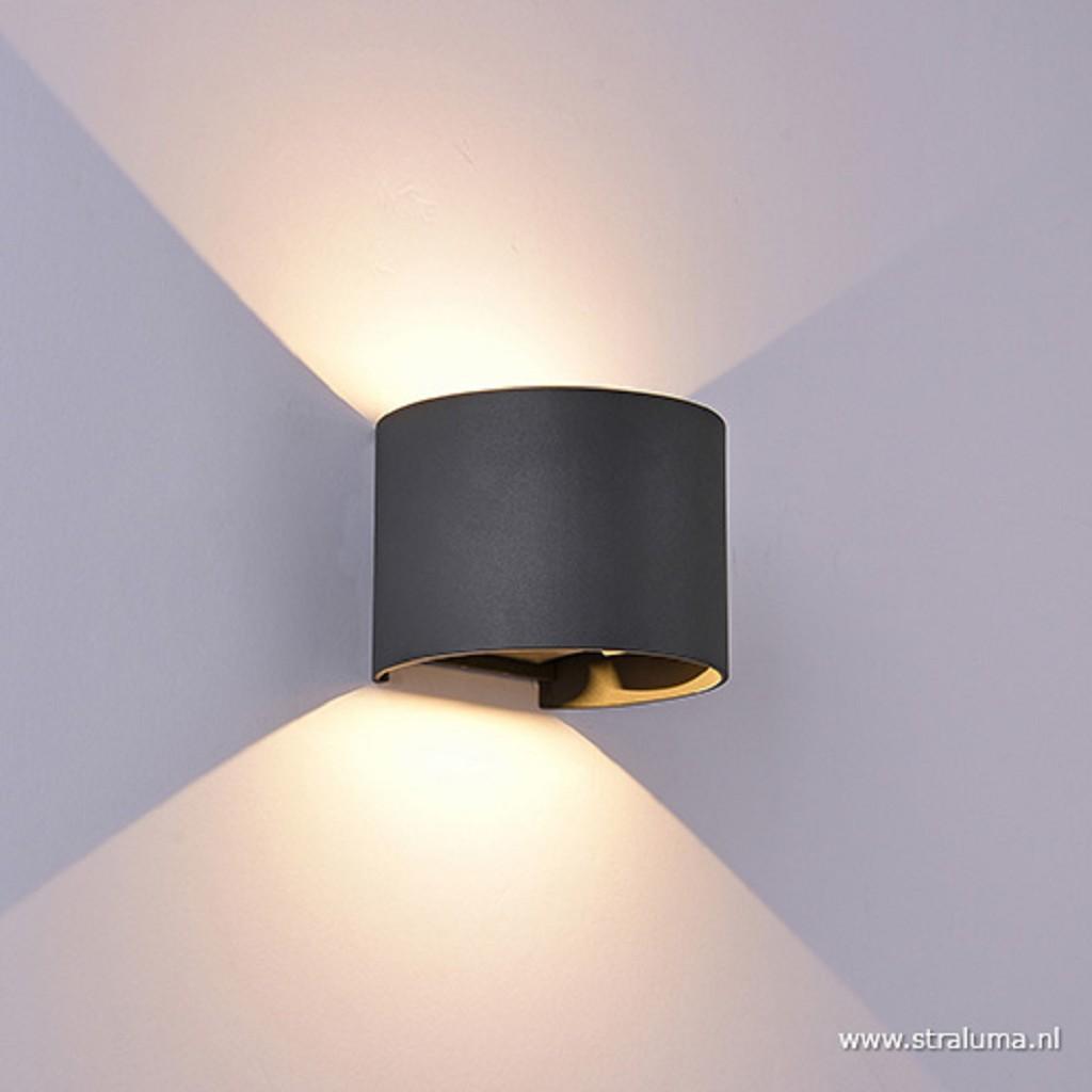 Ronde buiten wandlamp antraciet incl LED