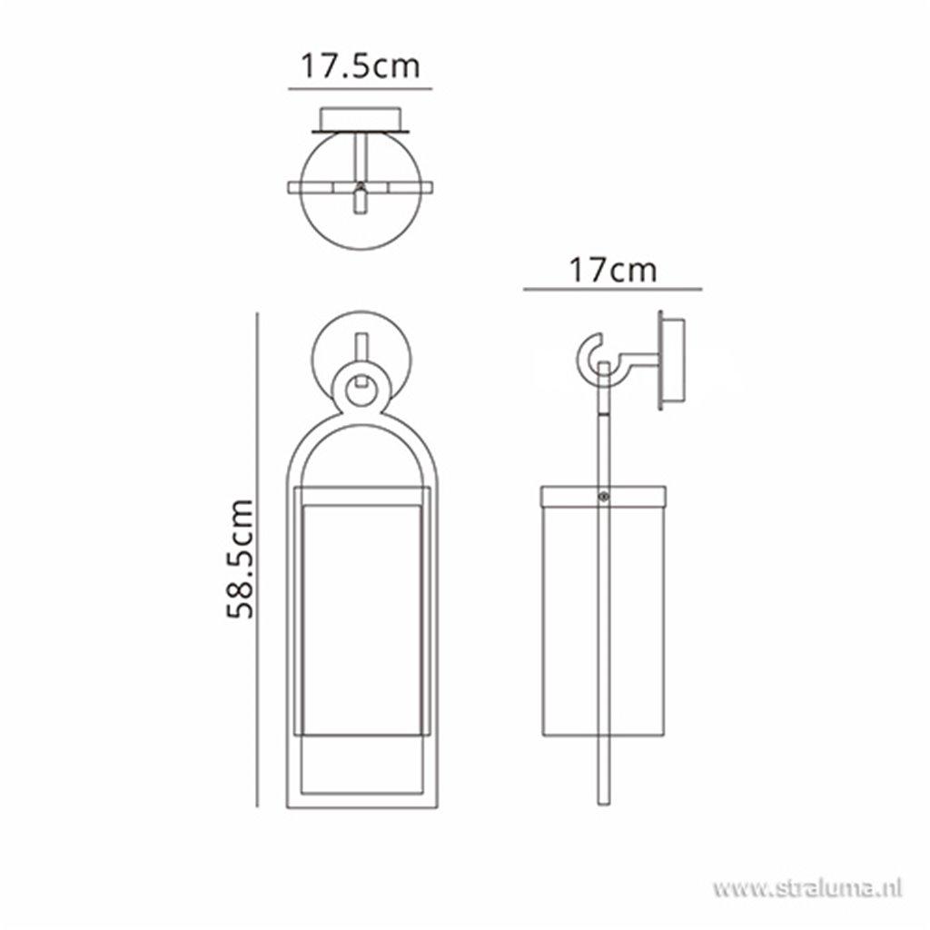 Lantaarn buitenlamp antraciet met glas