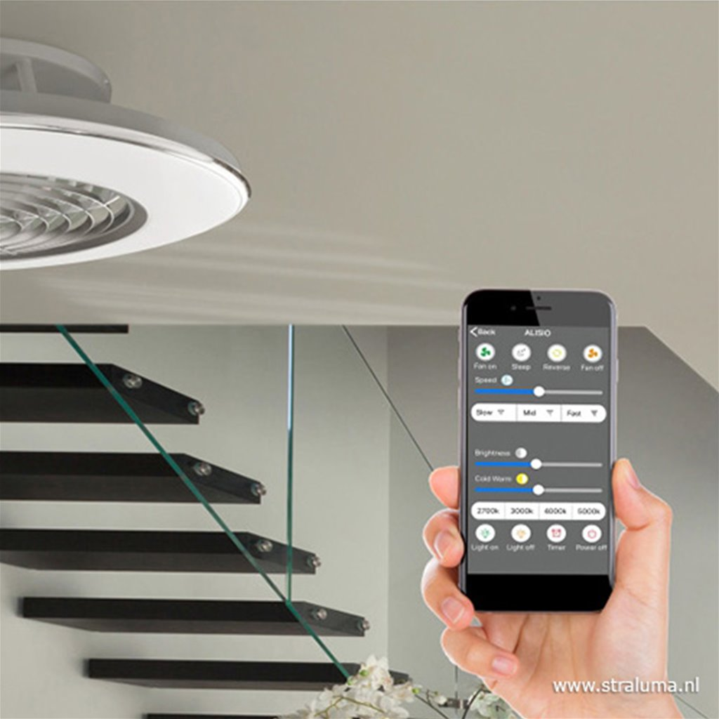 Zilveren ventilator met LED en bluetooth