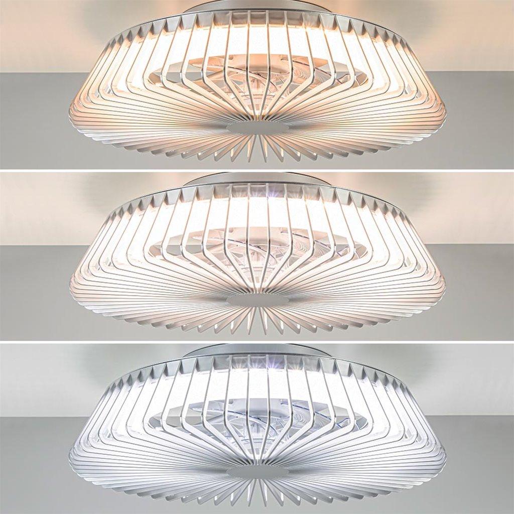 Plafondventilator zilver lamellen led CCT