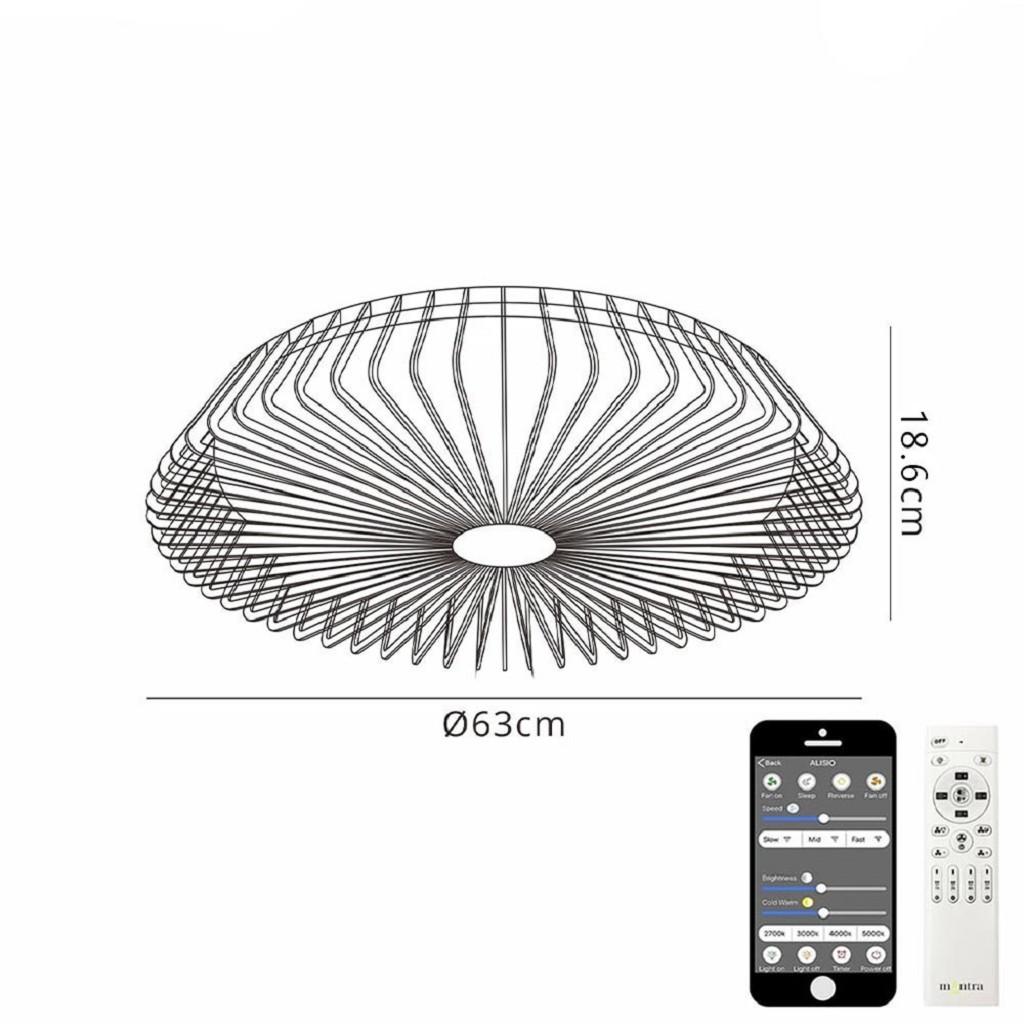 Houten plafondventilator met dimbaar LED en Bluetooth