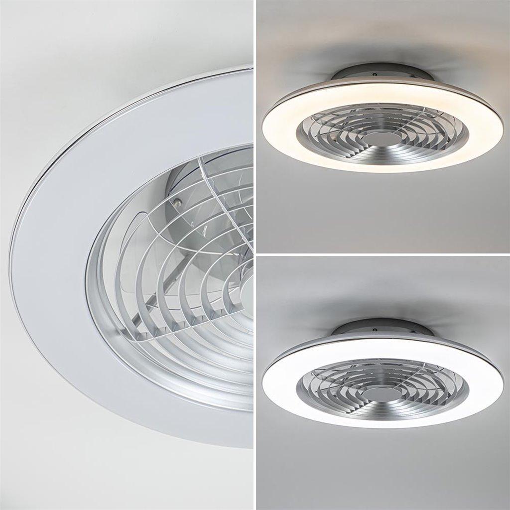 Zilveren plafondventilator groot inclusief LED