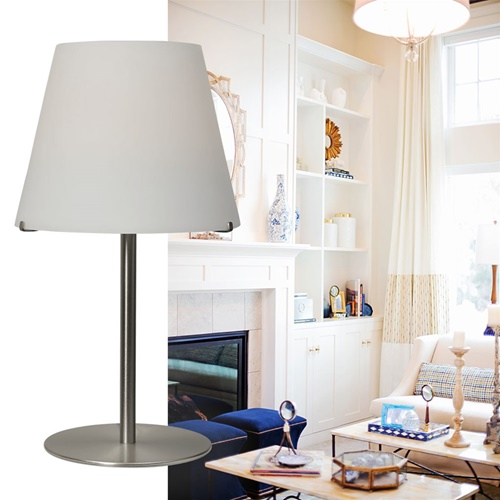 Grote moderne tafellamp Calabro nikkel glas