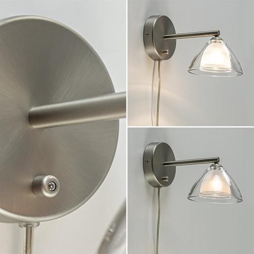 Moderne LED wandlamp nikkel met helder glas dimbaar