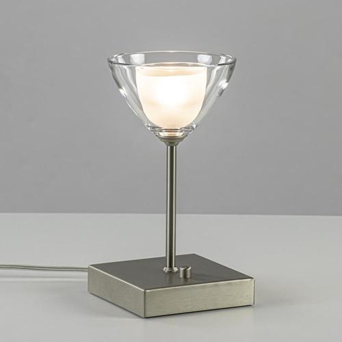 Kleine LED tafellamp nikkel met helder glas dimbaar