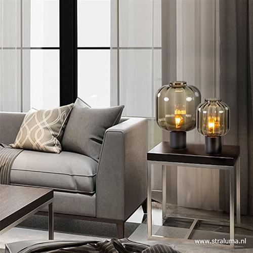 Kleine glazen tafellamp grijs/zwart