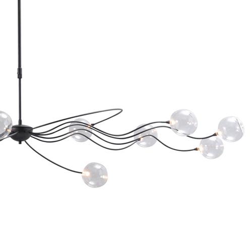 Grote LED hanglamp zwart met helder glazen bollen