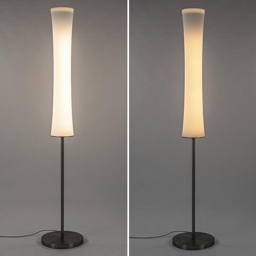Design vloerlamp nikkel met opaal glas en uplighter