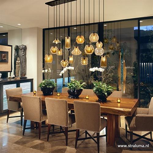 Hanglamp multipendel 14x amber glas/zw