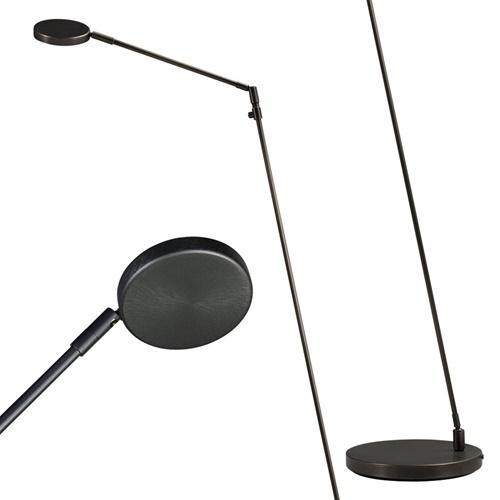 Moderne vloerlamp/leeslamp zwart LED dim-to-warm
