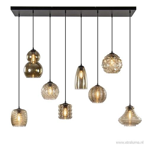 Moderne hanglamp - multipendel zwart met 8 smoke glazen kappen