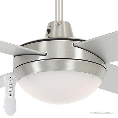 Plafondventilator staal-grijs met LED