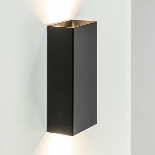 Wandlamp rechthoek zwart up + down GU10