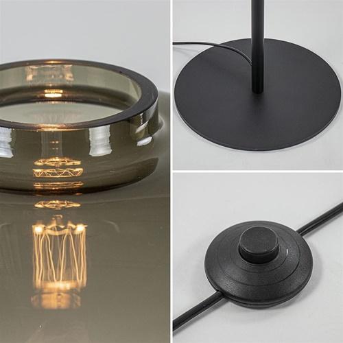 Vloerlamp Lett zwart/smoke glas