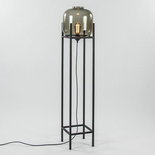 Vloerlamp Lett frame zwart/smoke glas