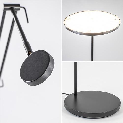 Design LED uplighter met leesarm zwart geborsteld staal