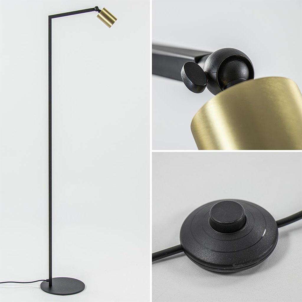 Design vloerlamp spot mat zwart met goud