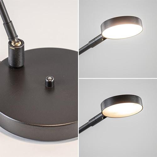 Moderne bureaulamp zwart staal met dimbaar LED