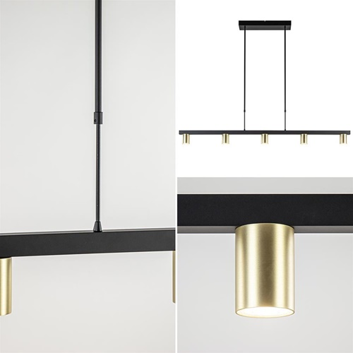5-Lichts hanglamp spots mat zwart met goud