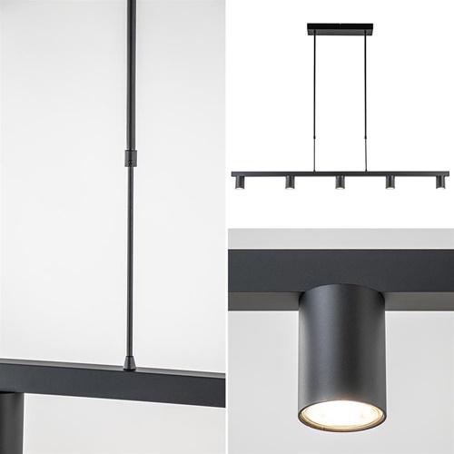 Hanglamp Bounce 5L tube spot zwart