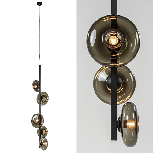 Mat zwarte videlamp met smoke glazen kappen 5-lichts