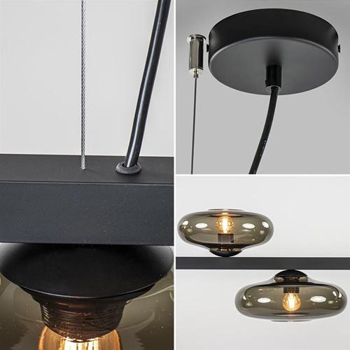 Hanglamp Hoseki zwart smoke glas