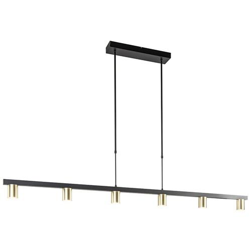 Elegante 6-lichts hanglamp mat zwart met gouden spots
