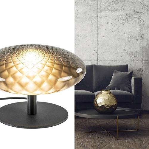 Kleine tafellamp mat zwart met bewerkt smoke glas