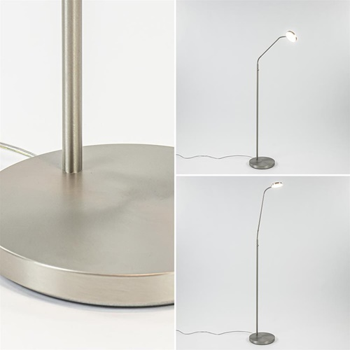 Verstelbare LED leeslamp dim to warm nikkel mat