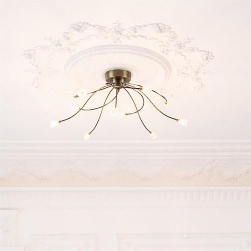 Grote plafondlamp brons met wit glas inclusief LED