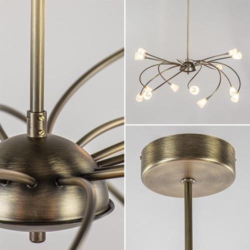 Klassieke eettafelhanglamp brons met wit glas dim to warm