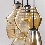 **5-Lichts hanglamp amber glas met zwart