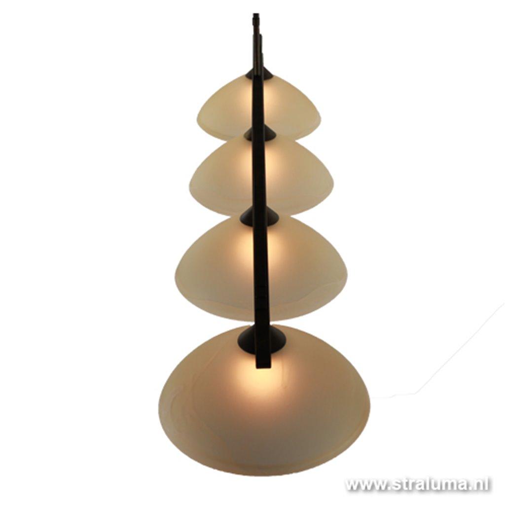 Klassieke eettafel hanglamp bruin-glas