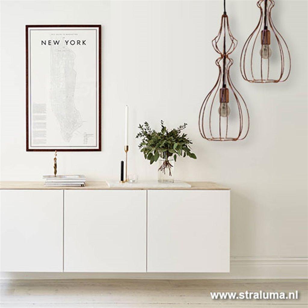 Hanglamp draadkap koper keuken-eettafel