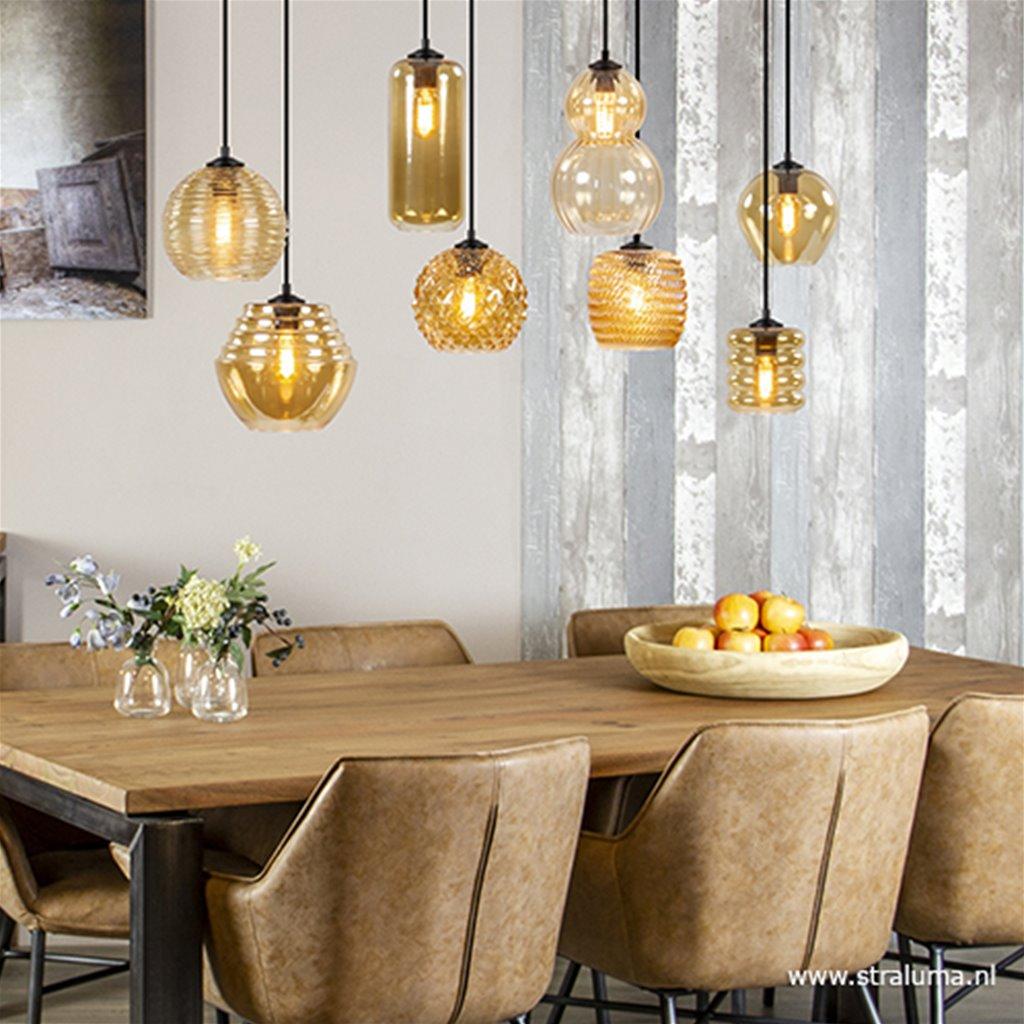 8-Lichts hanglamp amber glazen kappen