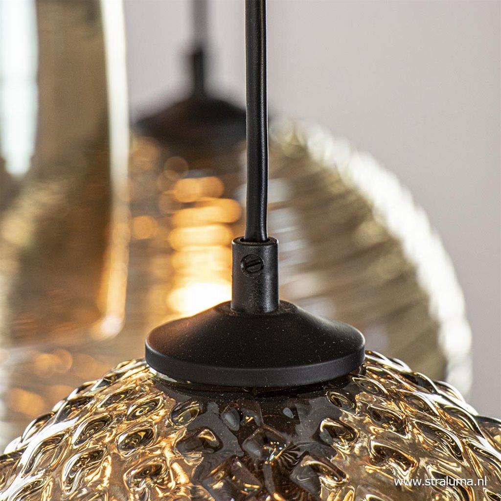 Moderne hanglamp zwart met 8 smoke glazen kappen