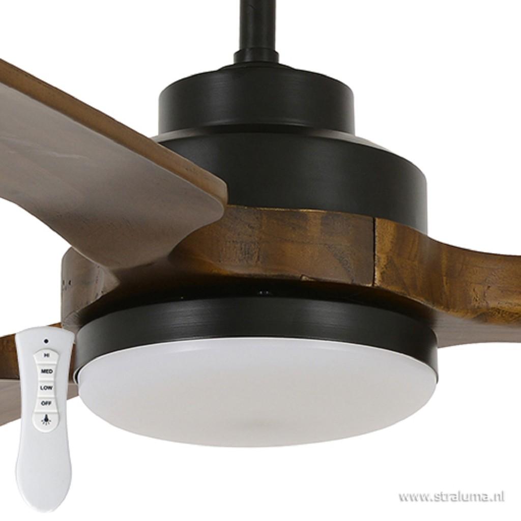 Houten plafondventilator met zwart
