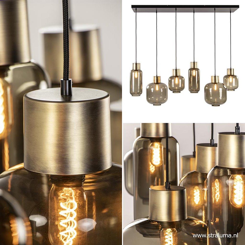 Luxe hanglamp 6-lichts smoke glas met brons