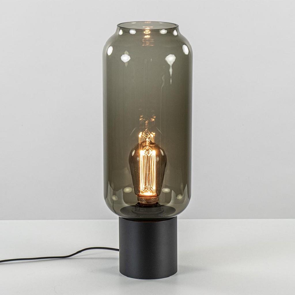 Moderne tafellamp zwart met smoke cilinder glas