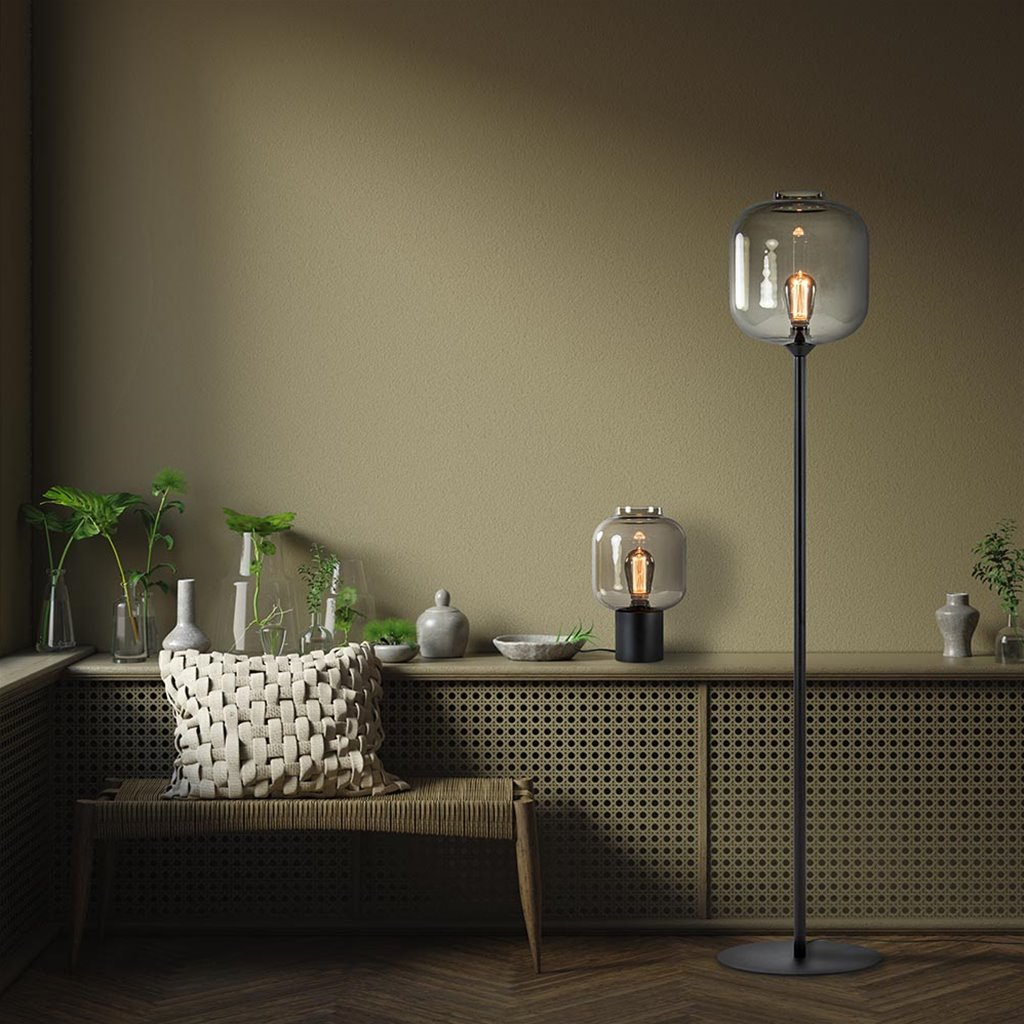Luxe vloerlamp mat zwart met smoke glazen kap
