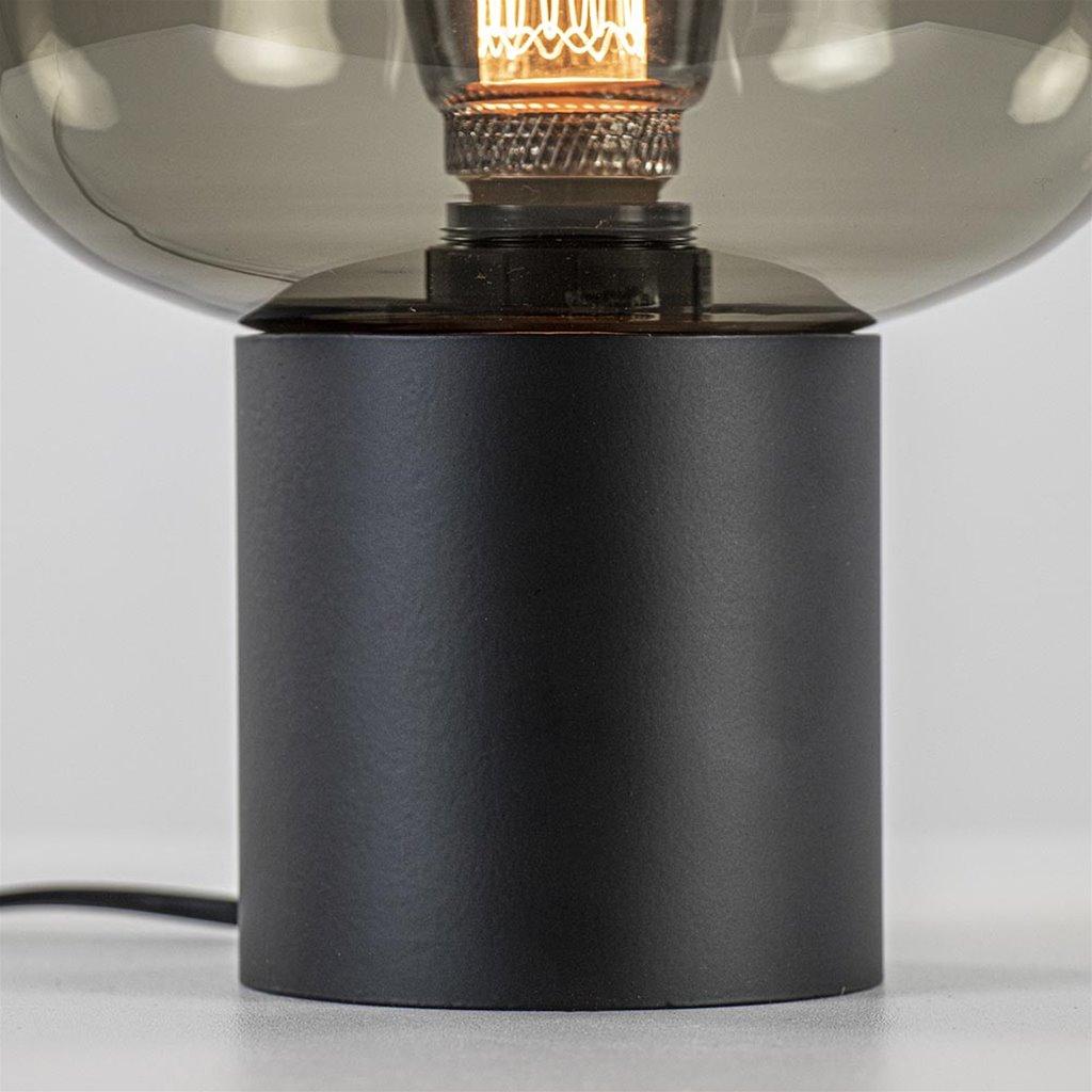 Kleine tafellamp smoke glas met zwarte voet