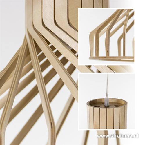 Lamellen hanglamp hout met twist