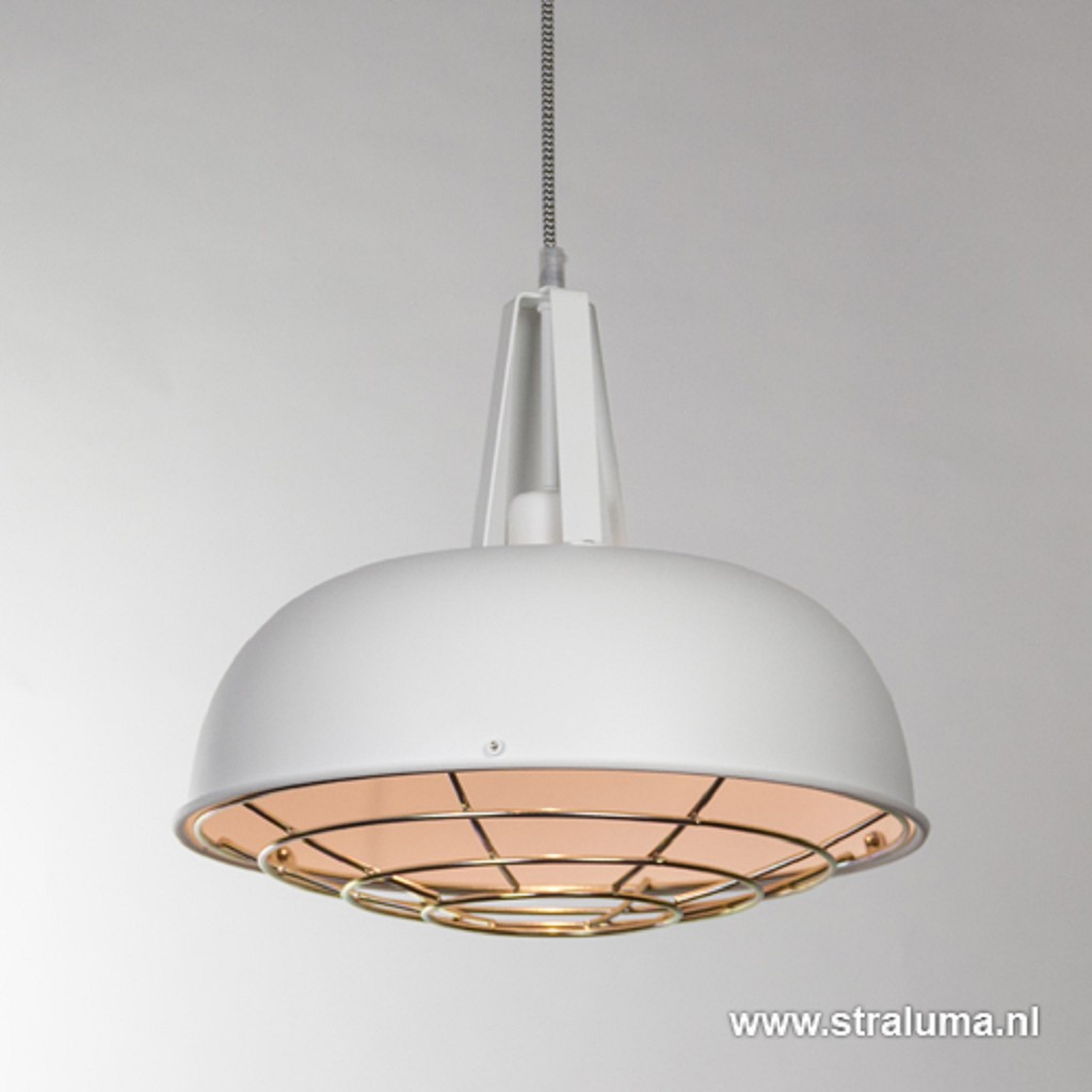 Witte hanglamp industrie rond rooster