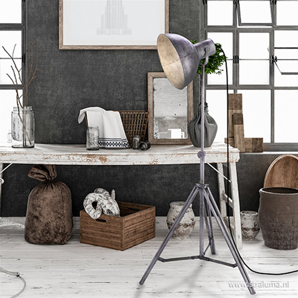 Driepoot vloerlamp Samia vintage grijs