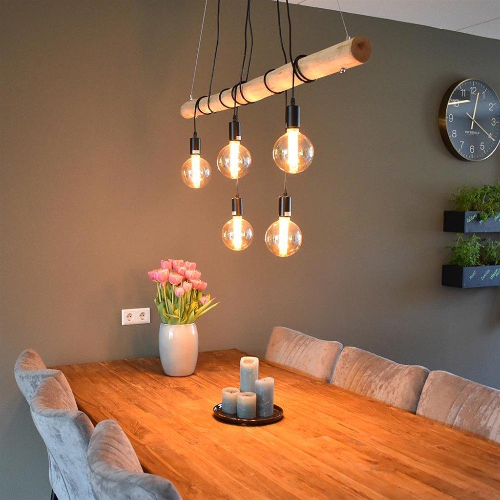 5-Lichts hanglamp houten balk met zwarte pendels