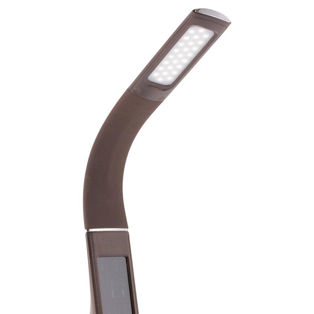 Bruine bureaulamp LED met klok en alarmfunctie