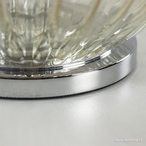 Grote tafellamp met amber glas en chromen voet