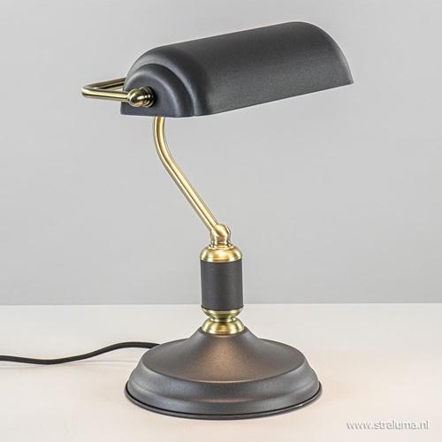 Klassieke bankierslamp zwart met antiek goud