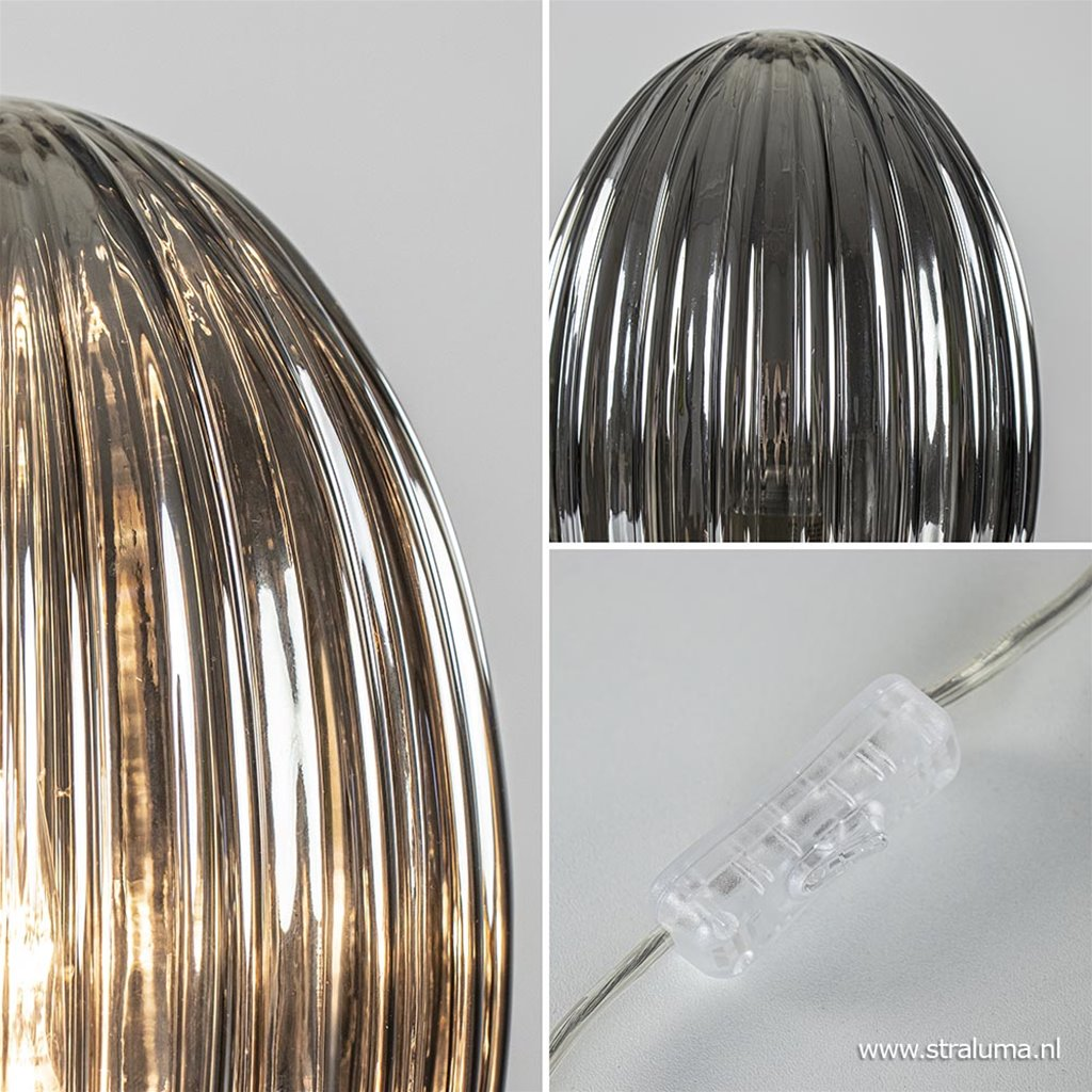 Moderne tafellamp chroom met smoke glas