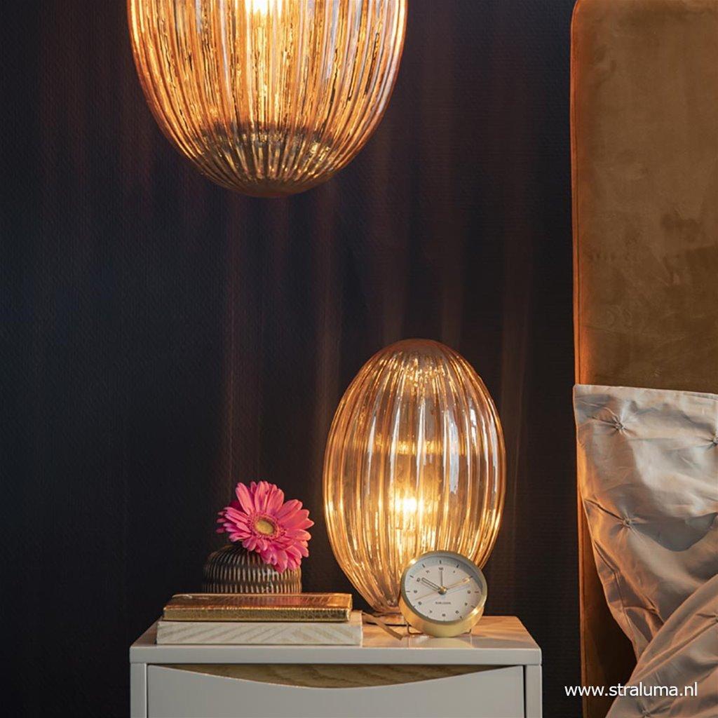 Strak klassieke tafellamp amber glas met chroom